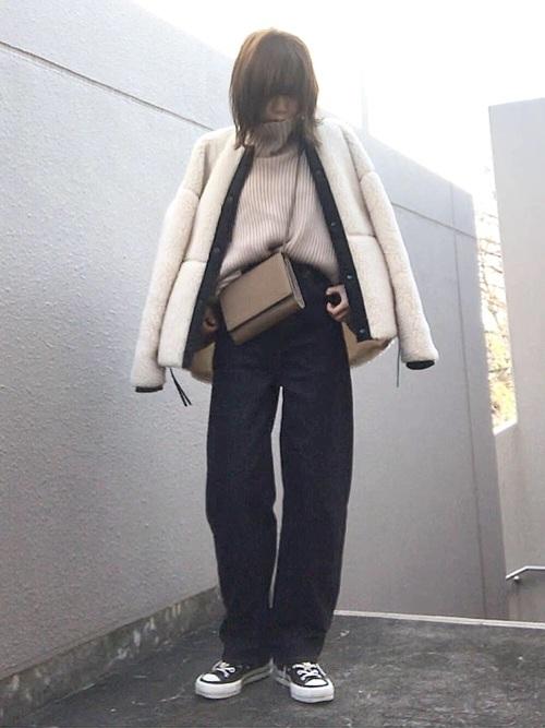 ボアコートを使った冬の乳児ママコーデ