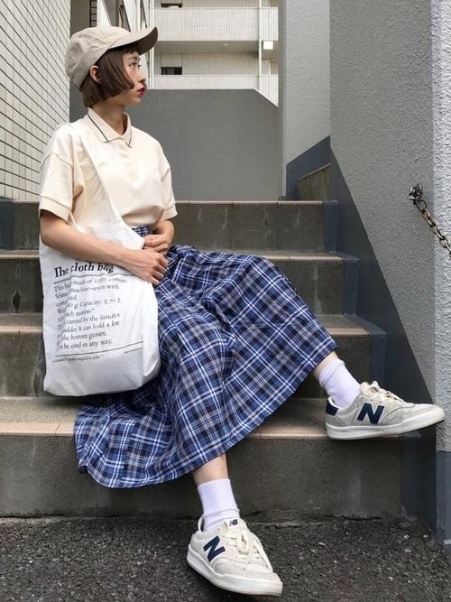 ポロシャツ×スカートコーデ