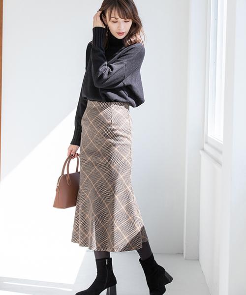 ニット×タイトスカート