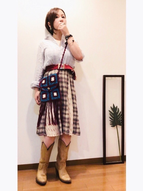 チェック柄スカートを使ったカントリーファッション