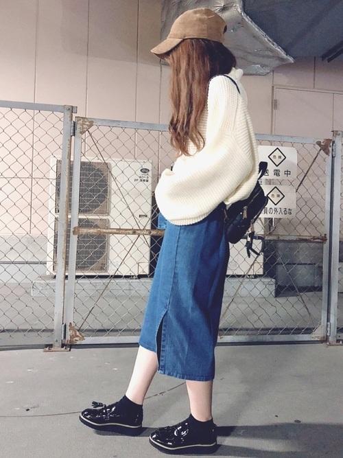 ゆるニット×デニムスカート