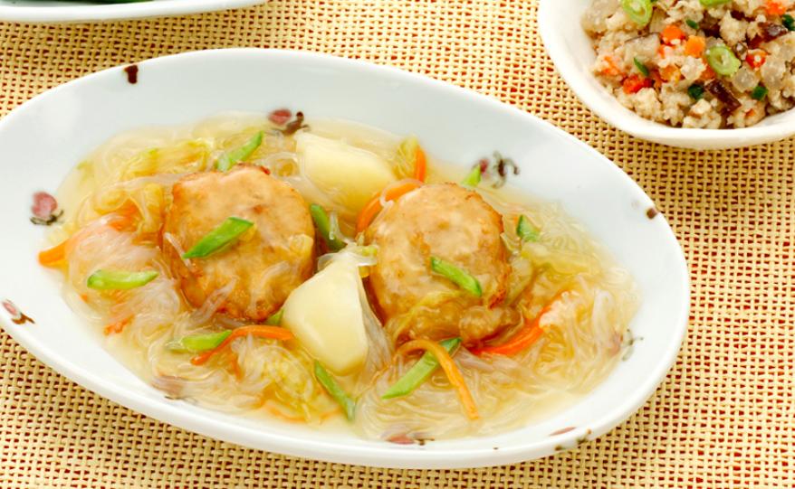 健康三彩 鶏つくねの春雨スープ