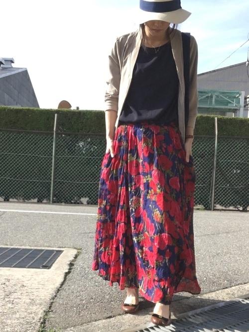 花柄スカートコーデ