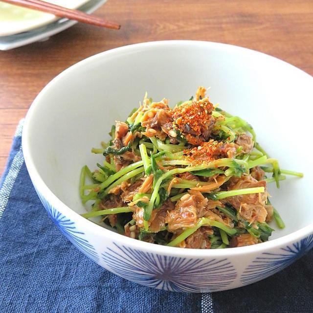 ▶簡単 さば缶と豆苗のピリ辛七味ごま和えのレシピ