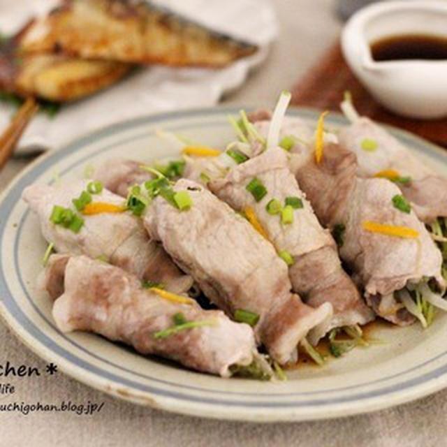 電子レンジで作る簡単メインレシピ 節約 豆苗ともやしの豚巻きのレシピ