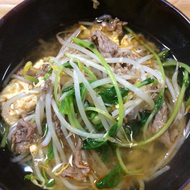 牛肉ともやしのピリ辛スープのレシピ