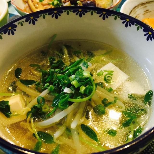 もやしと豆苗の中華スープのレシピ