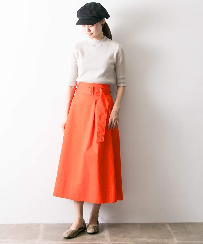 [アーバンリサーチ] スカート ベルト付カラーフレアスカート