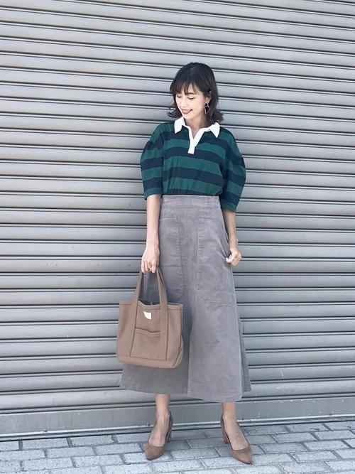 ラグビーシャツ×ロングスカート