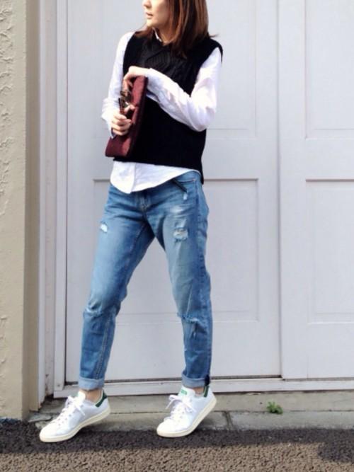 襟付きシャツ×ジーンズ