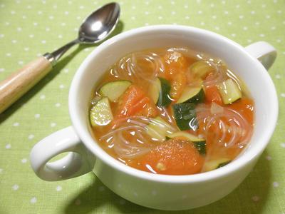 春雨とトマトのコンソメスープのレシピ