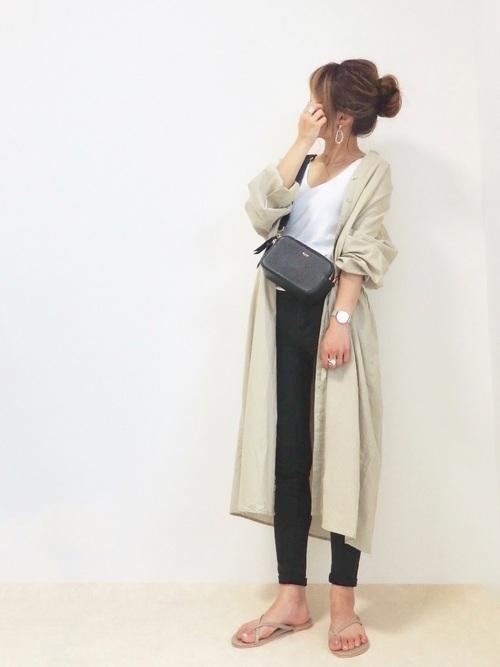 スキニーパンツを使った梨狩りの服装