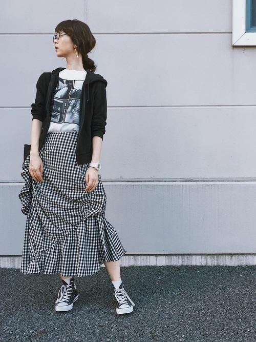 フレアスカートを使った梨狩りの服装