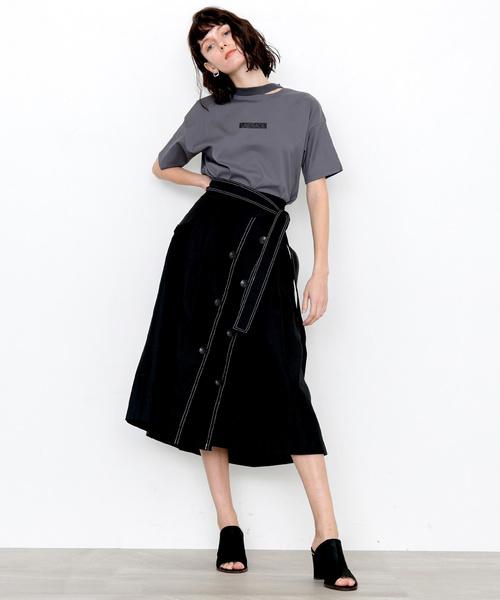 トレンチディテールフレアスカート