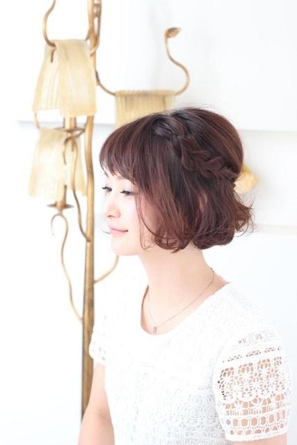 ショートヘア×編み込みハーフアップ