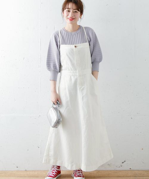 白のサロペットスカートを使った春コーデ