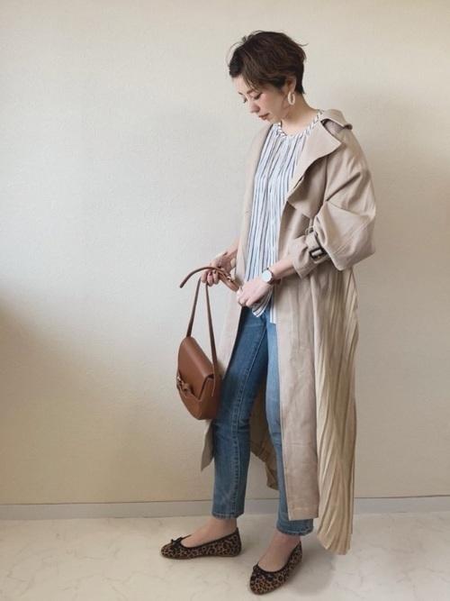 トレンチコートを使った富山の服装
