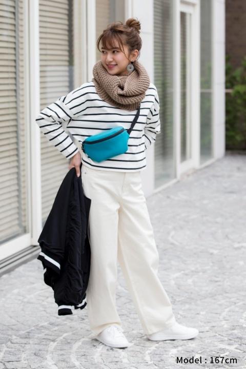 白パンツを使ったGUボーダーTシャツコーデ