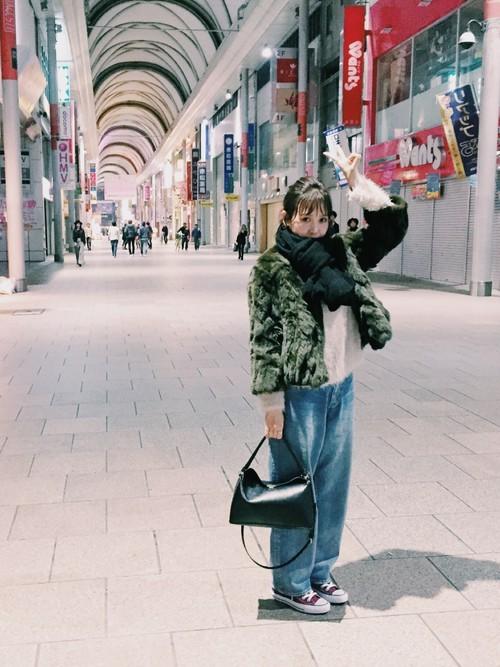広島旅行の冬のコーデ
