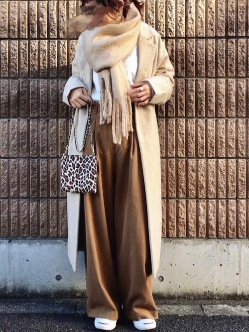 ロングコートを使ったワイドパンツコーデ