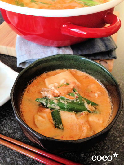 やみつきスープの豆乳味噌スープチゲ//COOKPADカテゴリ掲載【豆乳鍋】のレシピ