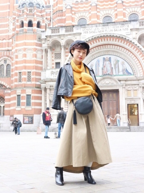 ライダース×スカートの冬コーデ