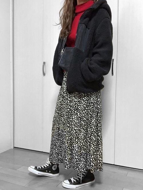 黒ボアブルゾン×レオパードスカート