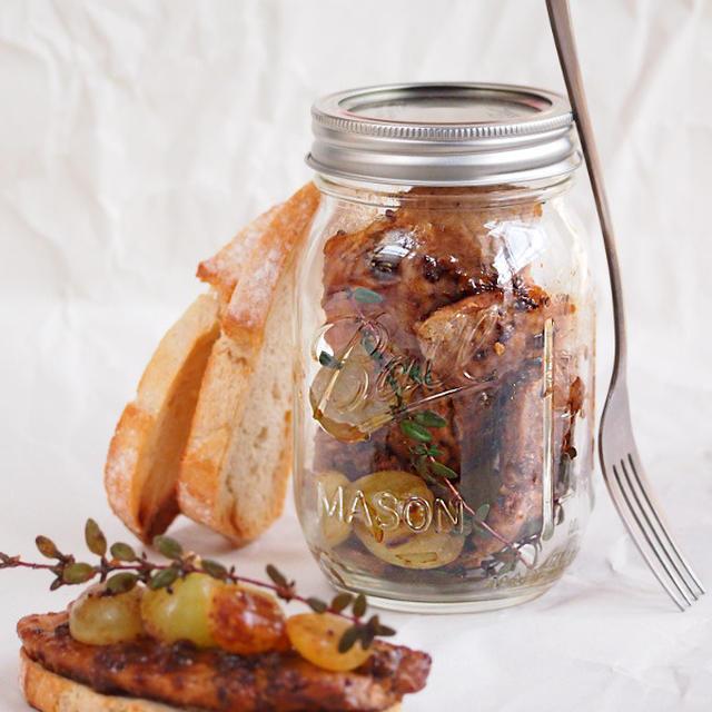 ハニーマスタード醤油のグリルポークと白ブドウ in メイソンジャーのレシピ