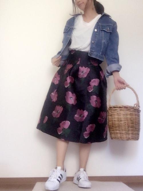 ジャガードスカート×デニムジャケット