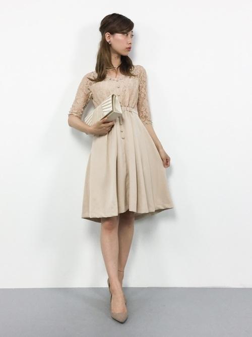 サテンレースワンピースドレス