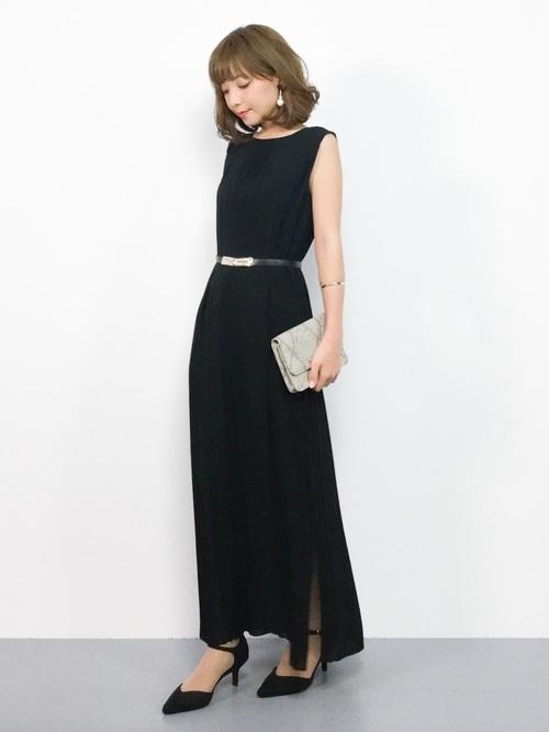 サイドスリットロングドレス