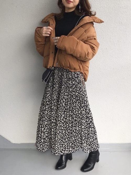 ダウンコート×ロングスカート
