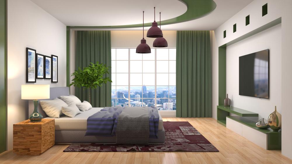 グリーン系の寝室
