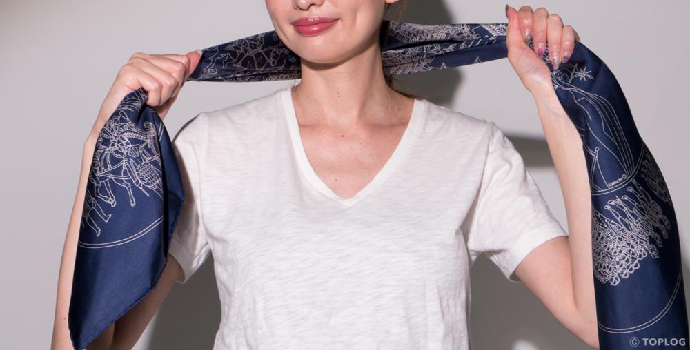 スカーフのヘアバンドづかい STEP03