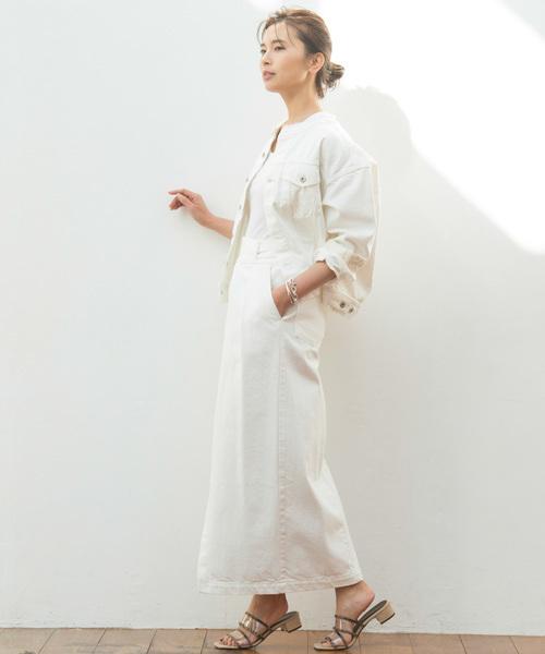 ホワイトデニムスカートを使ったコーデ
