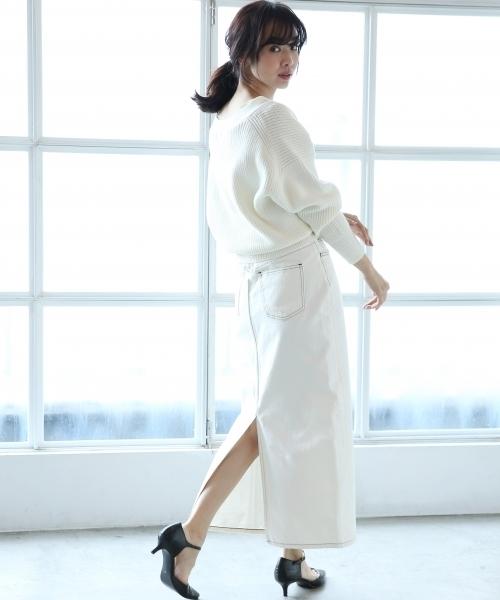 ホワイトデニムスカートを使った春コーデ