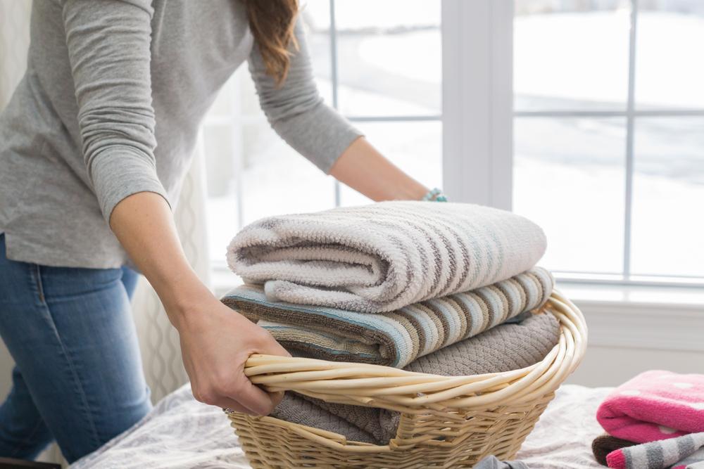 収納前に洗濯した毛布