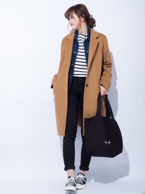 チェスターコートを使った小豆島の服装