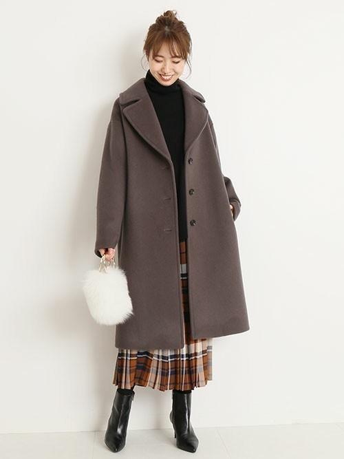 ビッグカラーコートを使った名古屋の服装