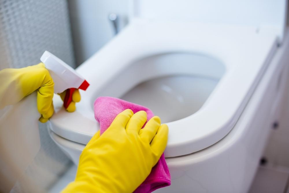 トイレ掃除をしている女性