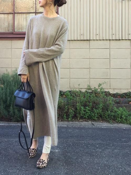 レギンスに合う靴を使ったコーデ【7】■秋■20~40代におすすめ:レオパード柄パンプス