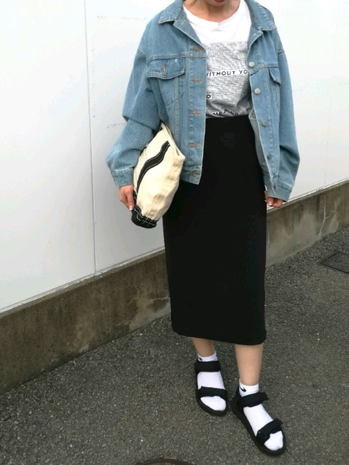 デニムジャケット×靴下×ユニクロサンダル