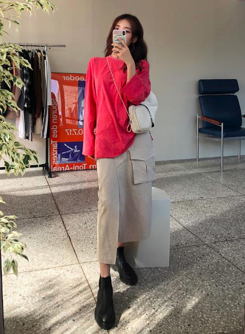 ポケットラップスカートを使ったフューシャピンクコーデ