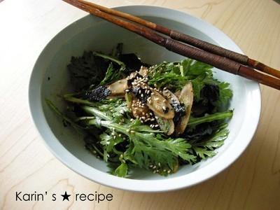 春菊とゴボウの韓国風ピリ辛サラダのレシピ
