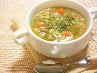 押し麦と鶏肉のカレースープ☆のレシピ