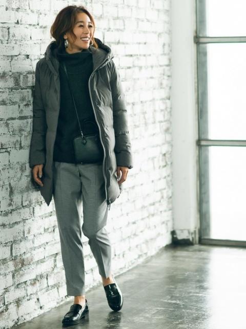 重ね着をした寒さ対策の服装