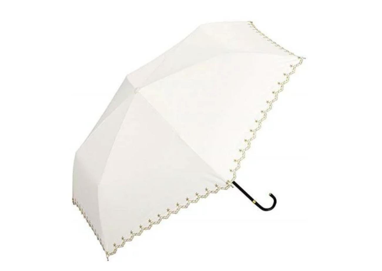 Wpc.(ワールドパーティー) 日傘 折りたたみ傘 オフホワイト 白 50cm 遮光星柄スカラップ
