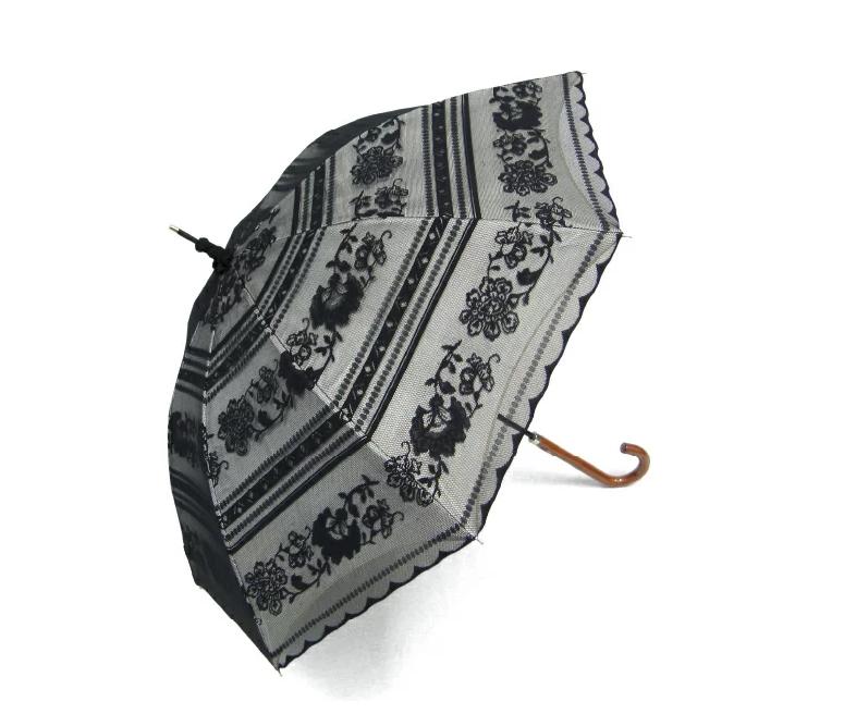 オカモト 日傘 レディース 晴雨兼用傘 1級遮光生地使用 紫外線防止に優れた日傘 UVカット パゴダ 遮光率 99.99%以上 サラサボーダー柄 レース二重張