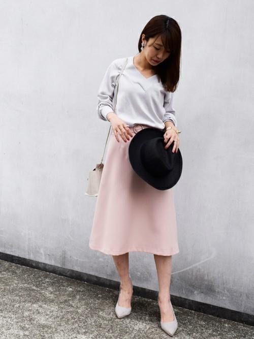 ピンクのAラインスカート