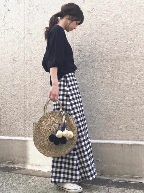 ギンガムチェックのAラインスカート